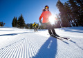 Photo by Peter Morning/Mammoth Mountain. Skiing just groomed snow at Mammoth Mountain.