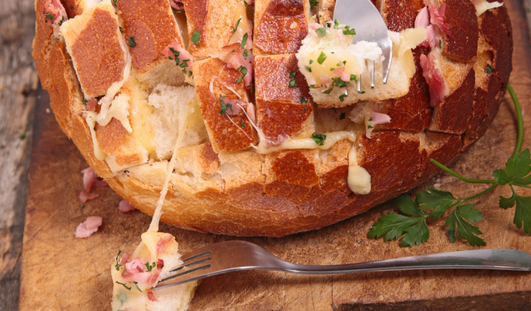 bread cooked with cheese, bacon and parsley
